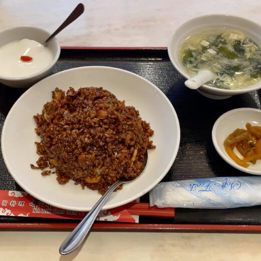 華錦飯店新館 海鮮黒チャーハンセット